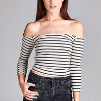 Striped Tease Off-The-Shoulder Crop Top