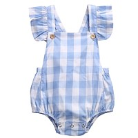 Baby Girl Clothes Summer Ruffled Sleeves Blue White Plaid Baby Romper Newborn Toddler Kids Jumpsuit Sunsuit Outfits