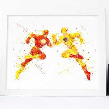 Reverse flash Reverse, Professor Eobard Professor Zoom flash watercolor nursery superhero nursery printables Reverse-Flash, dc comics art,