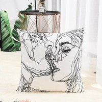 Kiss Throw Pillow Cover