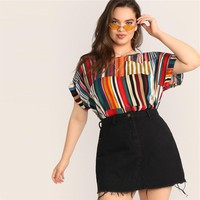 Plus Size Multicolor Colorful Striped Top Blouse Women Casual Short Sleeve Round Neck Big Size Blouses