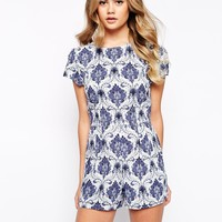 Motel Hoppy Playsuit In Santorini Print