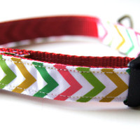 Christmas Chevron Dog Collar Adjustable Sizes (XS, S, M)