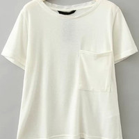 White Short Sleeve Pockets T-Shirt