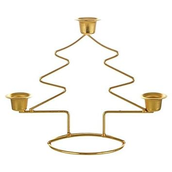 Xmas Tree Taper Metal Candle Holder - Gold - 48 Units