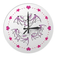 Pink Little Bat Nursery Wall Clocks from Zazzle.com