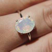Faceted Ethiopian Opal Ring - sterling silver opal ring - faceted welo opal ring - opal engagement ring - october birthstone ring