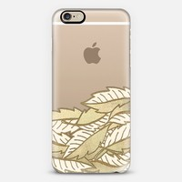 Golden Autumn - faux gold leaf illustration on transparent iPhone 6 case by Micklyn Le Feuvre | Casetify