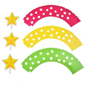 Adjustable Cupcake Wrappings with Star Toppings, Multicolor, 3-1/2-Inch