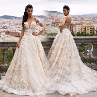 Gorgeous Sheer A-Line Backless Wedding Dresses Puffy Lace Applique Long Sleeves Wedding Gown