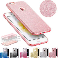 For iPhone 7 TPU Case Clear Crystal Bling Shining Girls Women Sparkle 3 Layer Phone Cases Covers for iPhone 6s 7 Plus Capa