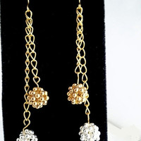 Gold Silver Holiday Earrings | Bead Gold Chain Dangle Earrings | Gold and Silver Dangle Beaded Women's Earrings | Lady Green Eyes Jewelry