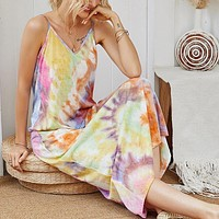 2020 new women's V-neck gradient color tie-dye printing suspender dress