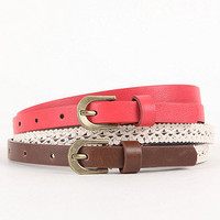 With Love From CA Crochet Coral 2 Pack Belt Set at PacSun.com