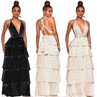2020 new women's polka dot print strapless dress