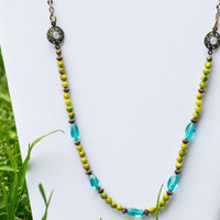 Green Necklace Multi Color Necklace Boho Style Necklace Rhinestone Necklace Antique Gold Necklace Antique Style Jewelry Vintage Inspired