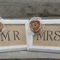 Mr. and Mrs. Burlap Wedding Distressed Wooden Frames, Rustic Wedding Decor, Rustic Wedding Photo Prop, Shabby Chic Wedding