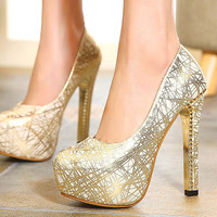 2016 New Fashion Sexy Round Toe Women Pumps Platform 13.5cm High Heels Ladies' Wedding Gold Silver Pumps Party Shoes Size34-39