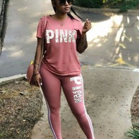 s018fashion Victoria's secret PINK Tight pants Short Sleeve Top Two-Piece