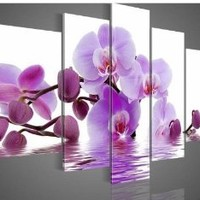 100% Hand-painted Wood Framed Purple Flowers Water Side Home Decoration Abstract Floral Oil Painting on Canvas 5pcs/set
