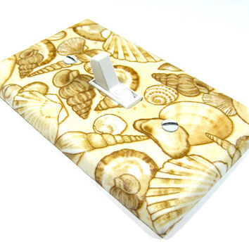 Cream Seashell Decoration Light Switch Plate Cover by ModernSwitch