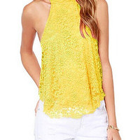Yellow Halter Lace Vest