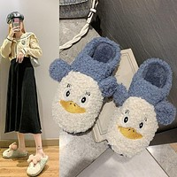 Large Size Women's Shoes 41-45 Cotton Slippers Cute Cartoon Student Home Non-Slip Plush Shoes