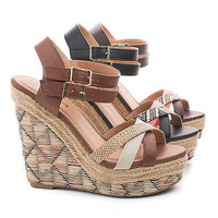 Vianca Aztec Raffia Print Strappy Open Toe High Wedge Sandals