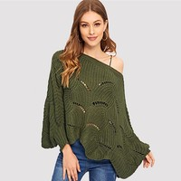 Eyelet Detail Scallop Trim Batwing Sleeve Sweater Boat Neck Pullovers Oversized Loose Sweater