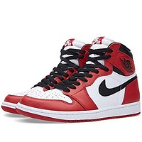 "Nike Mens Air Jordan 1 Retro High OG ""Chicago 2015"" White/Black-Varsity Red Leather"