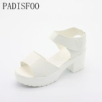 [H]2017 New Women's Leisure shoes for lady Square heel shoes Platform sexy shoes for lady girls Classic sandals slippers .XL-21