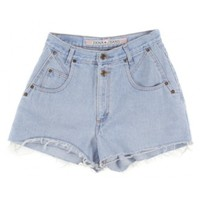 Rokit Recycled Pale Blue Denim Cut Off Hotpants W25 | Rokit Recycled | Rokit Vintage Clothing