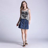 New Fashion 2016 Plus Size S - 5XL Women Vintage Blue Denim Mini Skirts Casual brand Single Button Designer Skirt