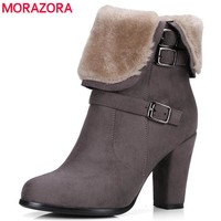 MORAZORA Large size 34-43 winter shoes fashion punk snow boots woman flock zip solid ankle boots for women high heels