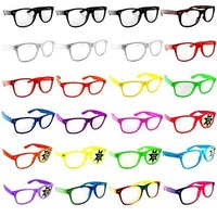 Lot of 24 Nerd Glasses- Buddy Holly Retro BROWCHO Clear Lens