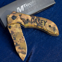 Camo Engraved Knife - Great Groomsmen Gift  - Laser Engraved Wood with Heavy-Duty Stainless Steel Blade