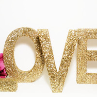 LOVE Sign Wood Letters, Wedding Sign, Gold Wedding Decor, Glitter Love Sign, Pink Glitter Letters, Sweetheart Table Decor, Freestanding