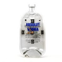 Absolut Vodka recycled wall clock - Recycled melted Absolut bottle clock - Gift for men