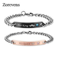 ZORCVENS DIY His Queen Her King Bracelets with Crystal Stainless Steel Pair Bracelets Heart Crown Charm For Women Men Jewelry