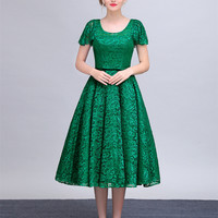 2016 Sexy Scoop Short Sleeves Lace Long A Line Tea Length Evening Dress Evening Gown
