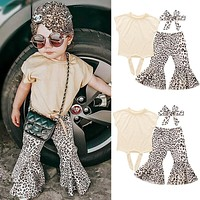 Fashion Kids Baby Girl Clothes Sets Summer 3Pcs Solid T-Shirt+Leopard Flare Trousers+Headband Outfits Kids Girl Cotton Sets 0-5Y