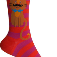 Cool Cat Crew Socks in Fuchsia and Orange