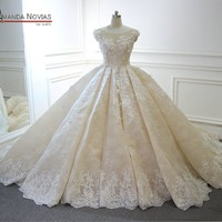 wedding-dress 2018 Luxury Champagne Wedding Dress With Long Train Dubai