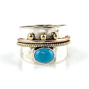 Turquoise Three Tone Sterling Silver Regal Band Ring