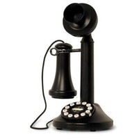 Crosley CR64-BK Candlestick Phone with Push Button Technology, Black