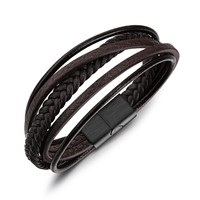 Brown Braided Rope Leather Bracelets for Men Stainless Steel Magnet Clasp Rock Punk Style Men Jewelry Accessories (BA102403)