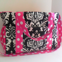 Extra Large Diaper bag Made of  Black Damask Fabric / 12 Pockets