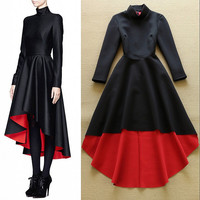 New Arrival 2015 Women's Stand Collar Long Sleeves Elegant High Street Runway Hi Low Designer Dresses