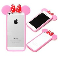 Angelseller XKM New Stylish Cartoon Animal Borders Hide Seek Minnie Pattern Soft Silicone Case Protective Cover for Apple iPhone 5 5G 5th £¨Hot Pink)+ Gift Randomly presented six home key Sticker
