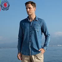 New Washed Denim Shirts Men Long Sleeve Jean Shirt Blue Denim Shirts Male
